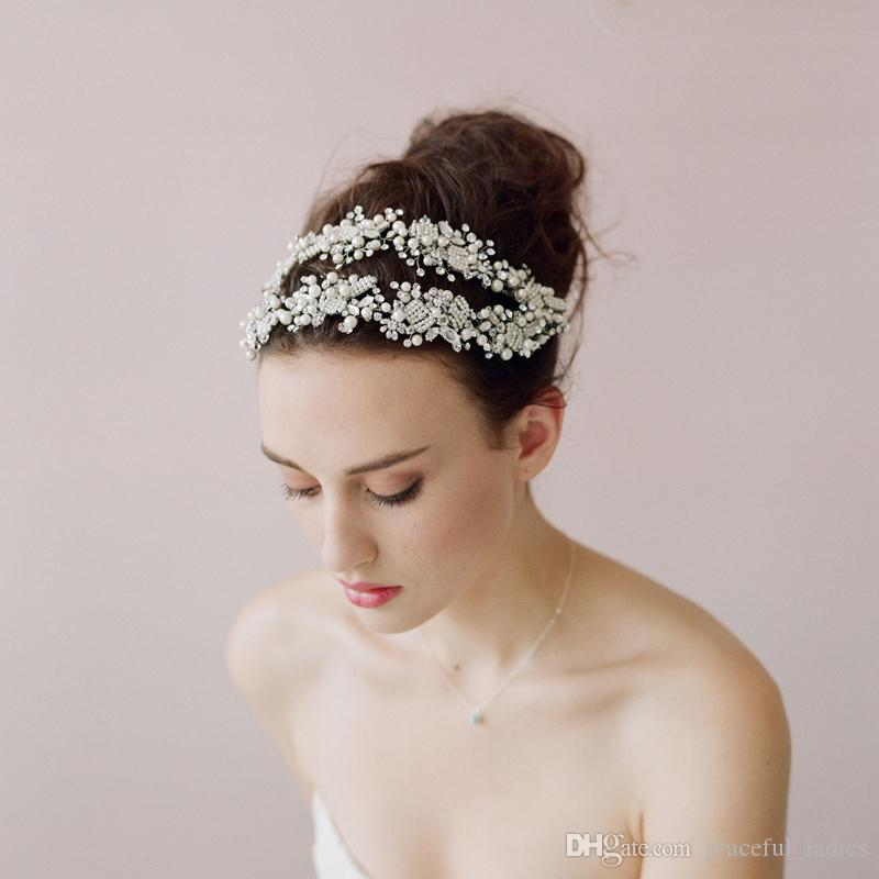 Eleganckie Luksusowe Luksusowe Akcesoria Do Włosów Bridal Kryształ Włosów Pałąk Pałąk Włosów Wedda Weddpiece Brzednidowe Akcesoria do włosów