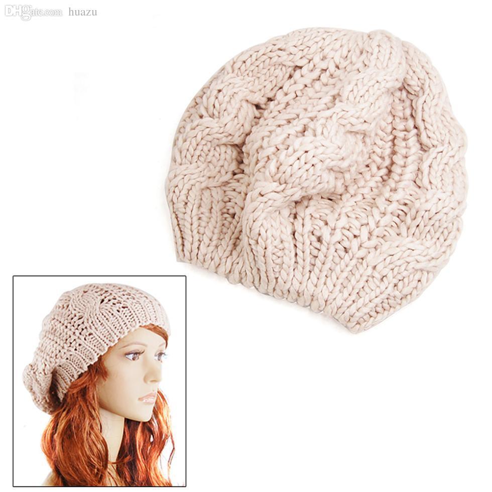Wholesale Szs New Lady\'S Warm Knit Braided Ski Cap Baggy Beanie ...