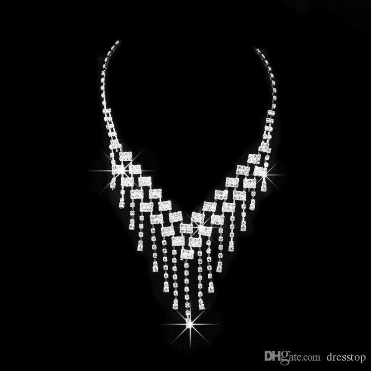 반짝 반짝 빛나는 라인 석 신부 티아라 목걸이 귀걸이 쥬얼리 세트 3 저녁 결혼식을위한 결혼식 액세서리