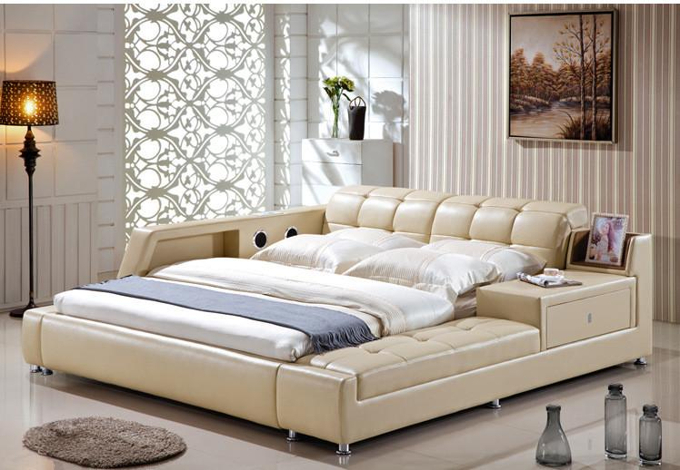 GENUINE LEATHER BED ELEGANT STYLE YELLOW SIMPLE DOUBLE PERSON FASION MODERN GOOD QUALITY 180*200cm A59D