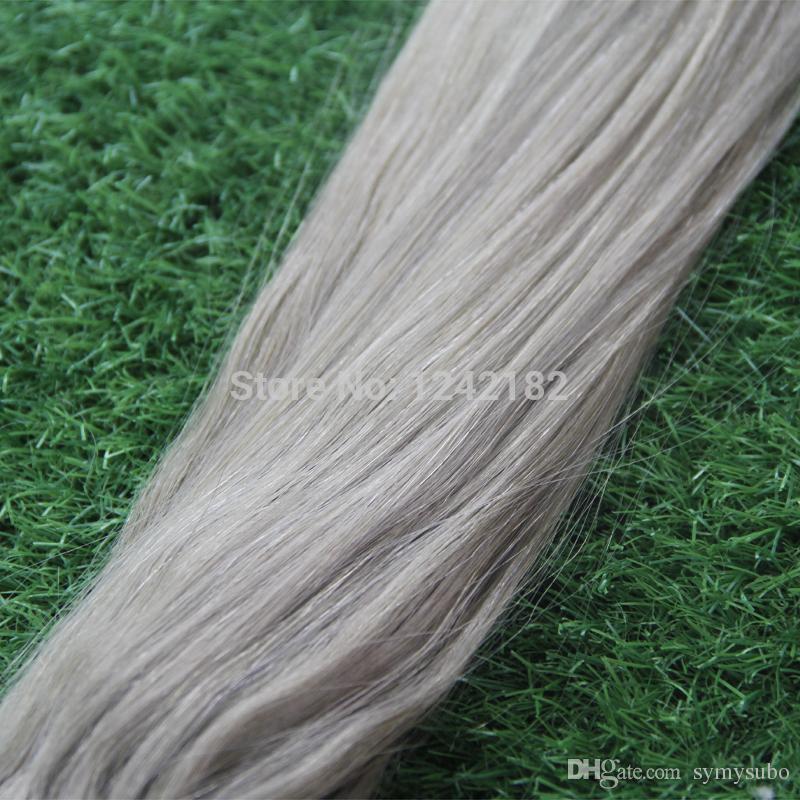 Micro Loop Ring Links Remy Straight Silver Grey Human Hair Extensions 100g1g/Strand Brazilian Virgin Human Hair Extension