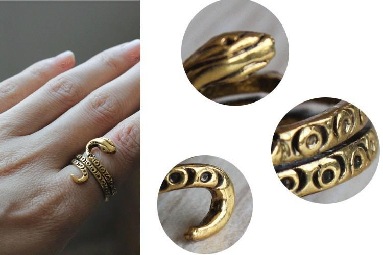 Fashion ancient egyptian pharaoh snake rings for women Vintage style Antique Silver Plated/Antique Gold Plated rings