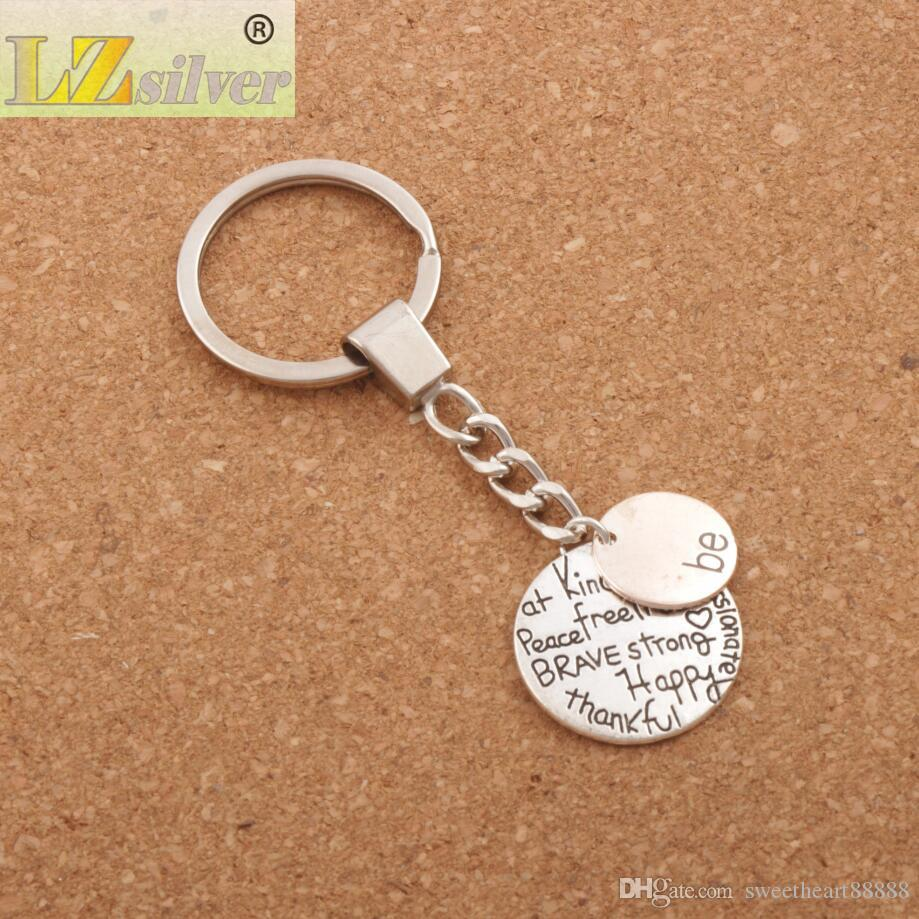 Be Happy Keychain Bag Pendant Be Friend Brave Happy Strong Car Key Chain Ring Holder K1622/3