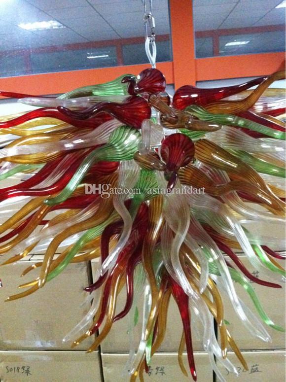 CE UL 붕규산 무라노 유리 데일 치 훌리 Dale Chihuly 미술 여러 가지 빛깔의 유리 펜던트 크리스탈 램프 풍선 100 % 입