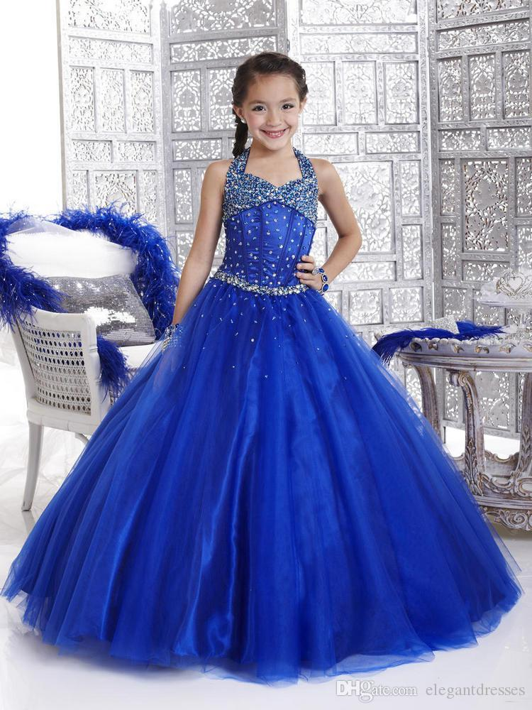 New Girl Pageant Dress 2021 Crystal Royal Blue With Zipper Back Ruffled Flower Girl Princess Grows Formal Dresses for Girl