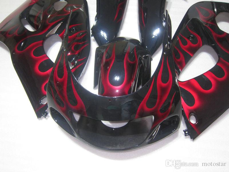 Customize fairing kit for SUZUKI GSXR600 GSXR750 1996 1997 1998 1999 2000 GSX-R 600 750 96-00 red flames black bodywork fairings set GB24