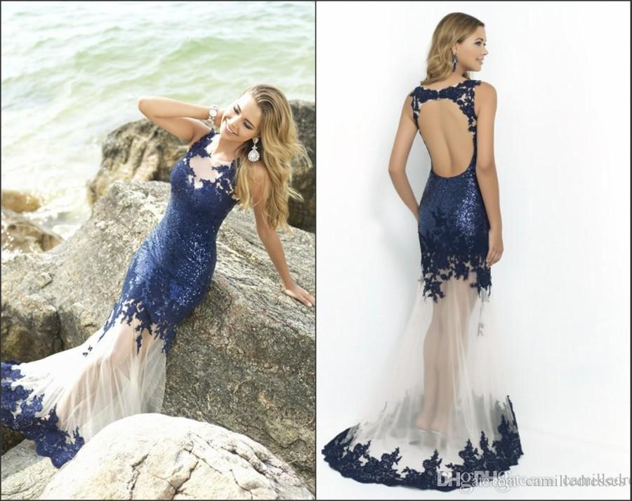 Blue Sequin Fitted Royal Blue Prom Dresses Mermaid 2015 Sexy Crew