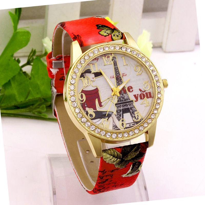 Модные новые женщины горный хрусталь бриллианты часы мода Эйфелева башня люблю тебя печать искусственная кожа кварцевые случайные наручные часы платье женские часы