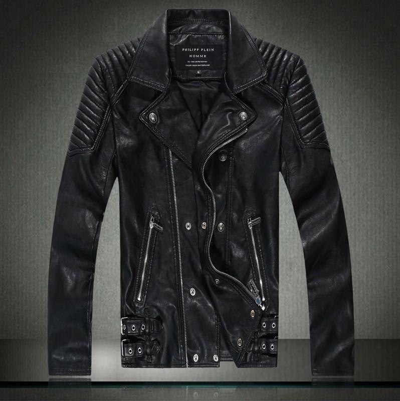 Best Autumn Winter Dress Leather Jacket Men Slim Skull Bomber ...