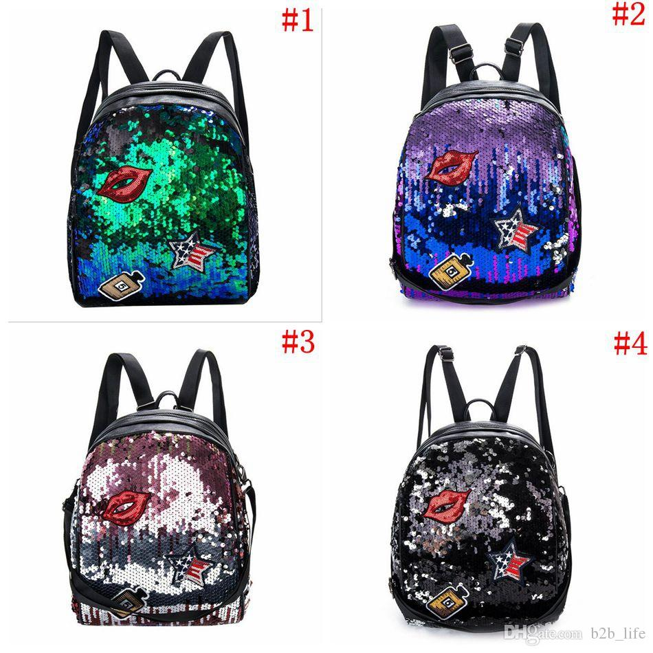 996f0e2d5aae Girls Sequins Lip Backpack Women Shoulder Bag Schoolbags Handbag Satchel  Bag Cute Bling Mini Backpacks OOA3801 School Backpacks For Kids On Sale  Backpacks ...
