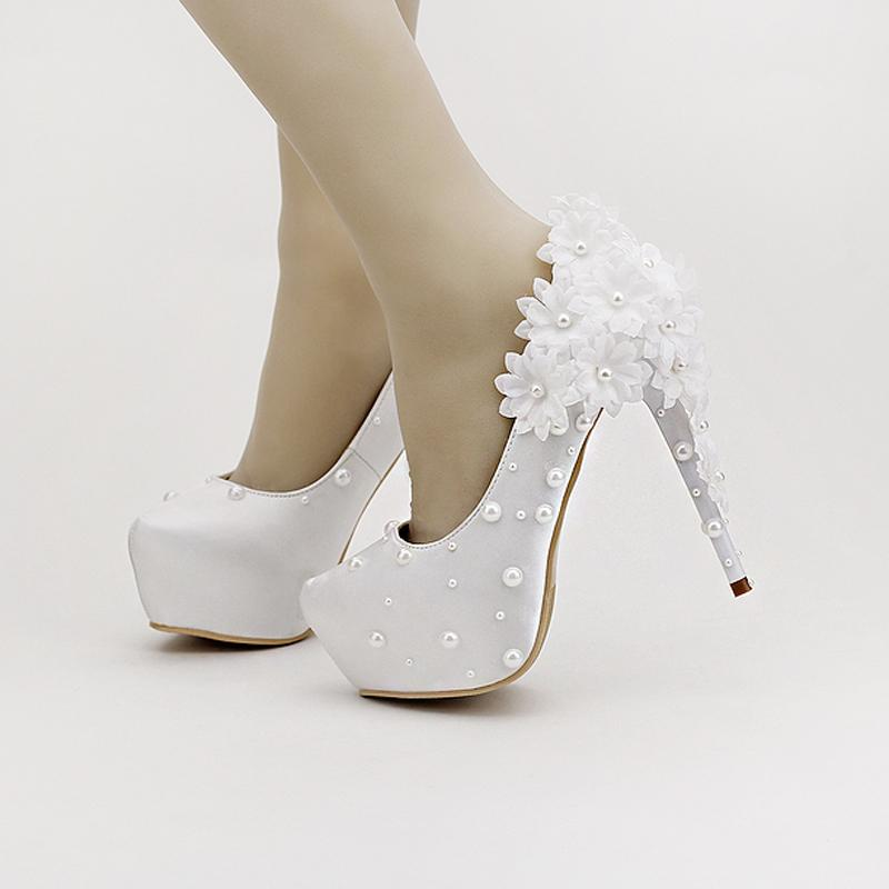 Bridal Shoes High Heels: Beautiful White Satin Flowers Bridal Shoes Super Stiletto