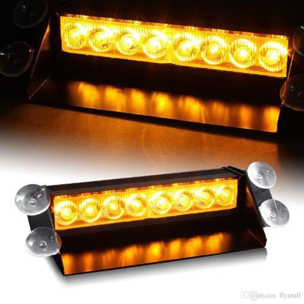 8 LED Yüksek Güç Strobe Işıkları Vantuz İtfaiyeci Yanıp Sönen Acil Araba Kamyon Işık 8 LED Araba Strobe Uyarı Tow Dash Işık