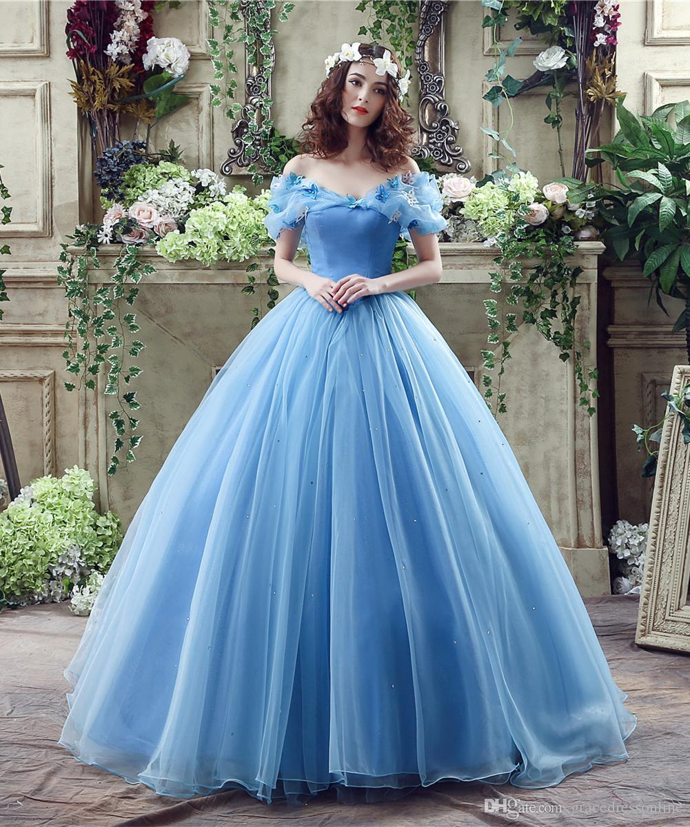 2016 Fairy Debutante Ball Gowns Blue Butterfly Portrait Beaded ...