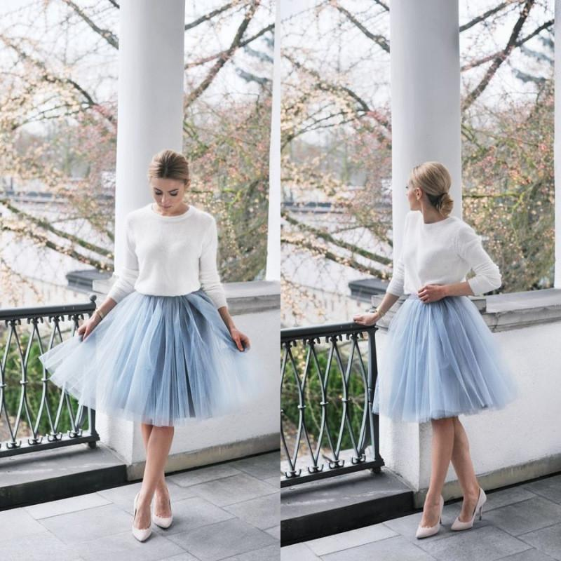Wholesale Light Blue Tulle Women Formal Wears Short Knee Length A ... 9c3d9d55d808