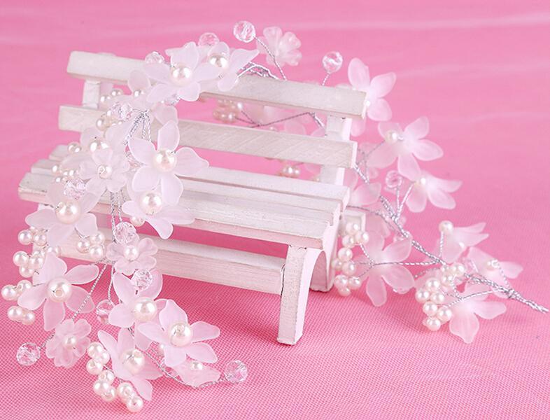 رومانسية الزفاف رباطات أكريليك اللؤلؤ الزفاف عقال للعروس كريستال الشعر مجوهرات اكسسوارات الشعر الزفاف اليدوية