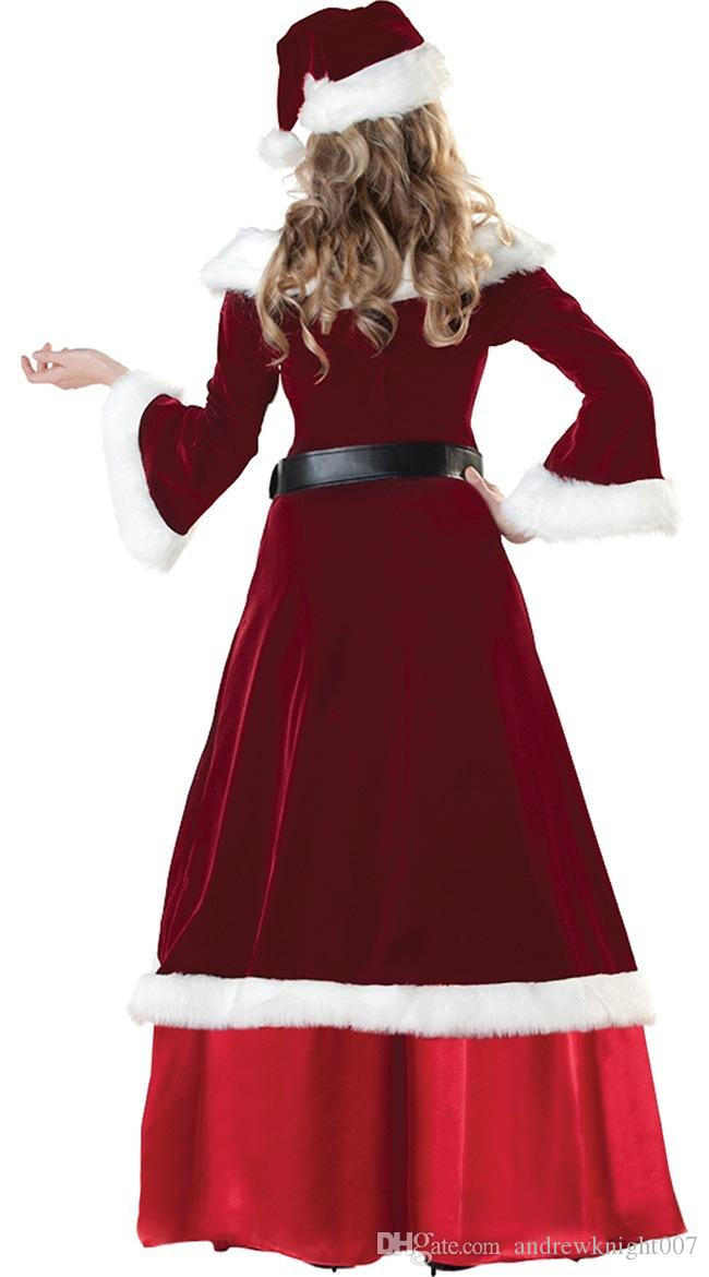 Full Set Of Christmas Costumes Santa Claus For Adults Red Christmas Clothes Santa Claus Costume Luxury Uniform Xmas Costume for Men Women