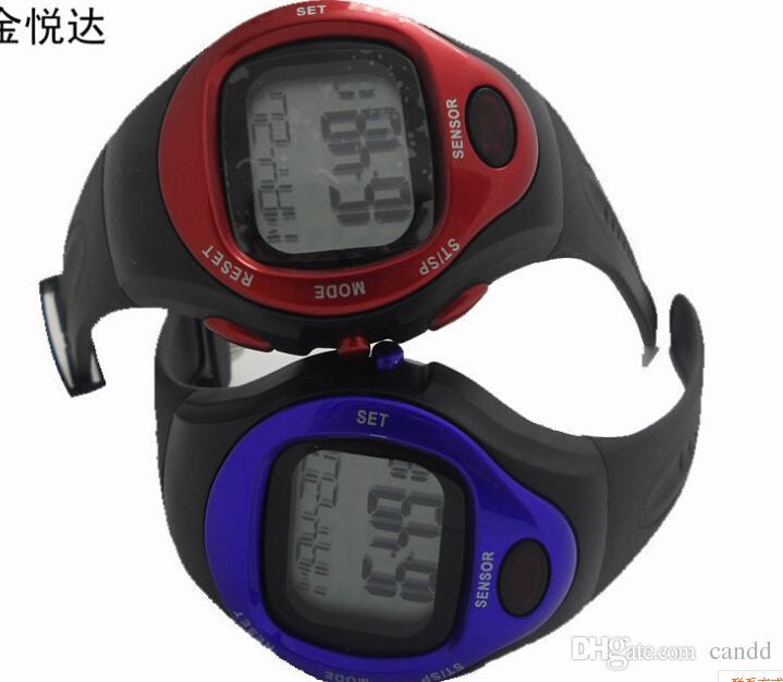 Gratis frakt / Calorie Counter Pulse Heart Rate Monitor Stop Sport Watch Vattentät med kalenderfunktion