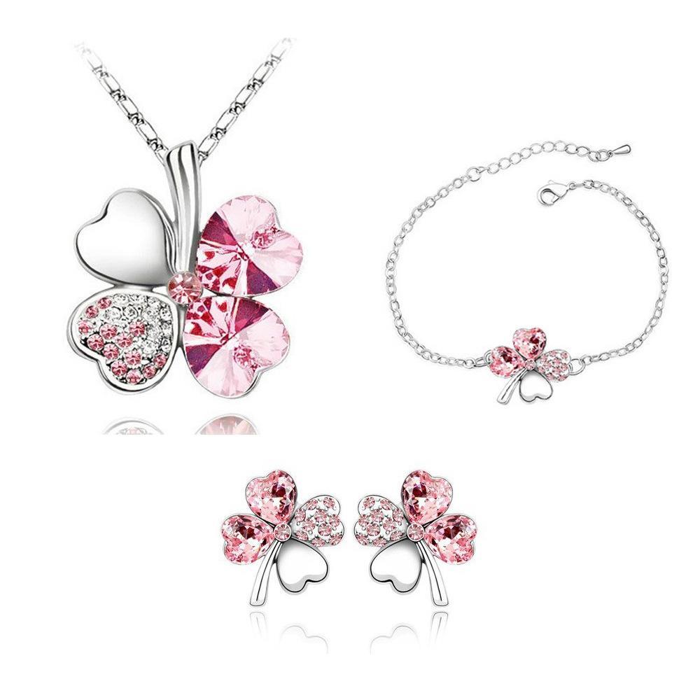 Fashion Four Leaf Clover Bracelet Earrings Necklace Austria Zircon Crystal Necklace+Earrings+Bracelet Love Heart Jewelry Sets Women Jewellry