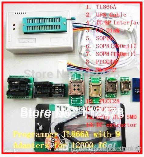 Free shipping 2014 NEW V6 0 Russian & English Software TL866 USB Universal  BIOS Programmer TL866A +10 IC Adapters A5