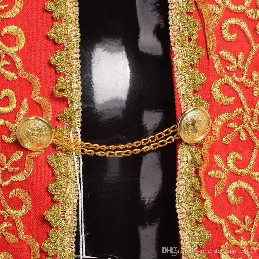로얄 유럽 법원 팬시 복장 빈티지 로코코 바로크 왕자 탑스 + 바지 남자 코스프레 화이트 / 블랙 / 레드