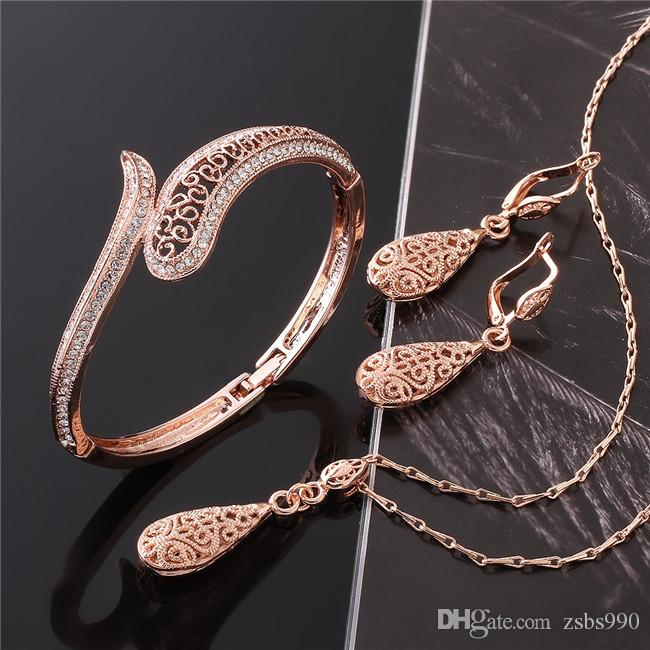 Fashion Jewelry Set 18K rose gold necklace & bangles & earrings with crystal beautiful Christmas gift for woman Top quality