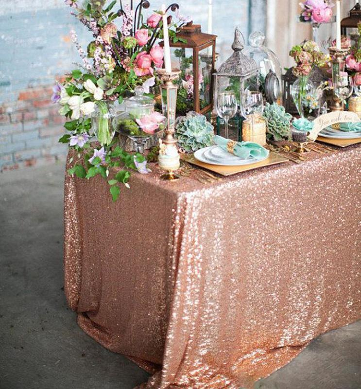 Gold Wedding Decor Ideas: Rose Gold Sequined Tablecloth Wedding Party Decorations