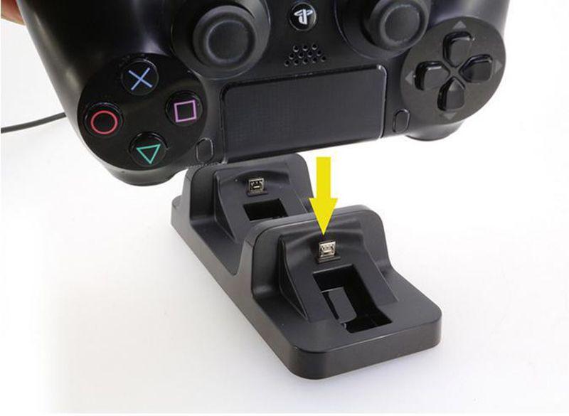 Nouveau support double station de chargement USB sans fil pour manette de jeu playstation 4 PS4 Chargeur noir pour poignée dualshock 4 en stock 010205