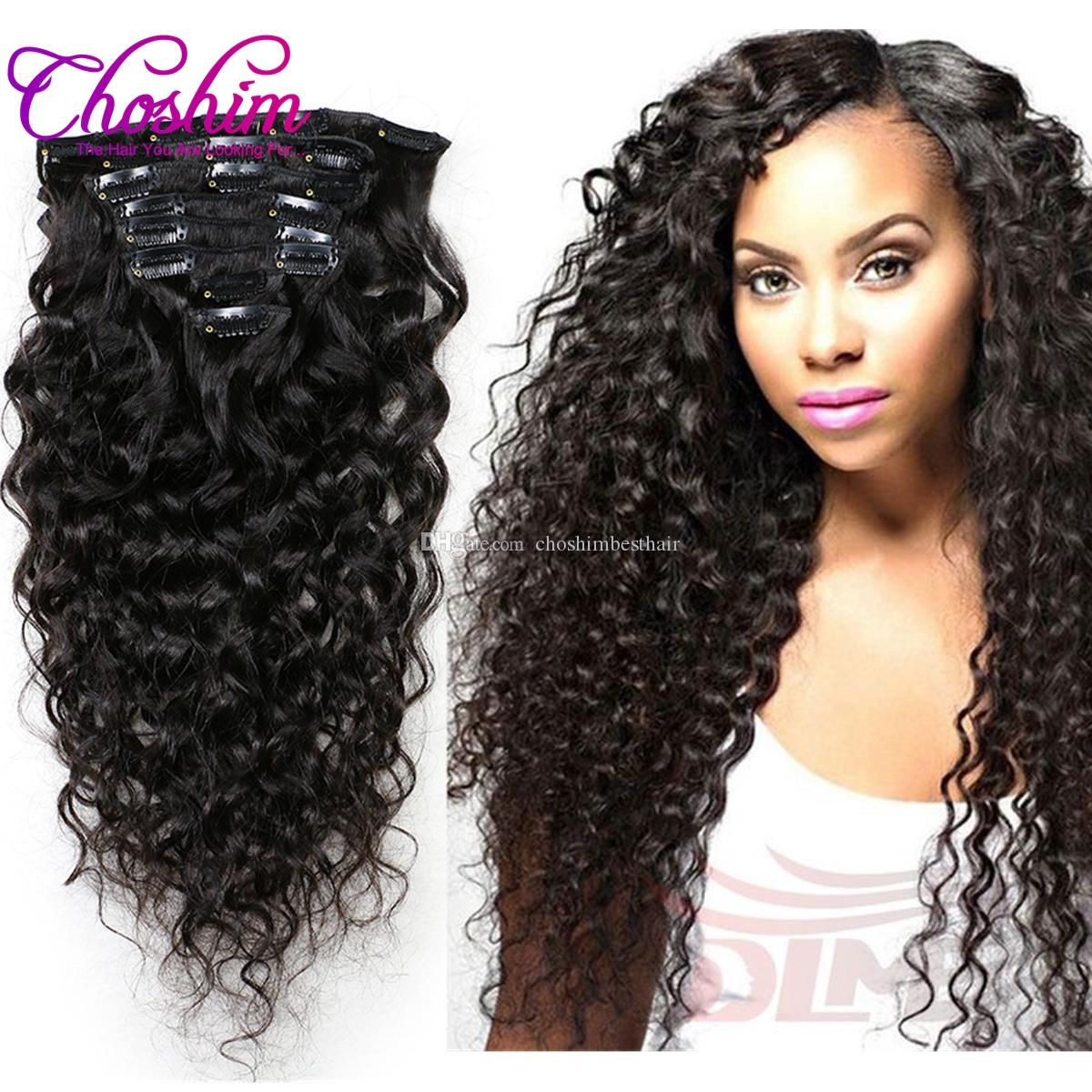 Choshim Brazilian Water Wave Hair Clip In Human Hair Extensions
