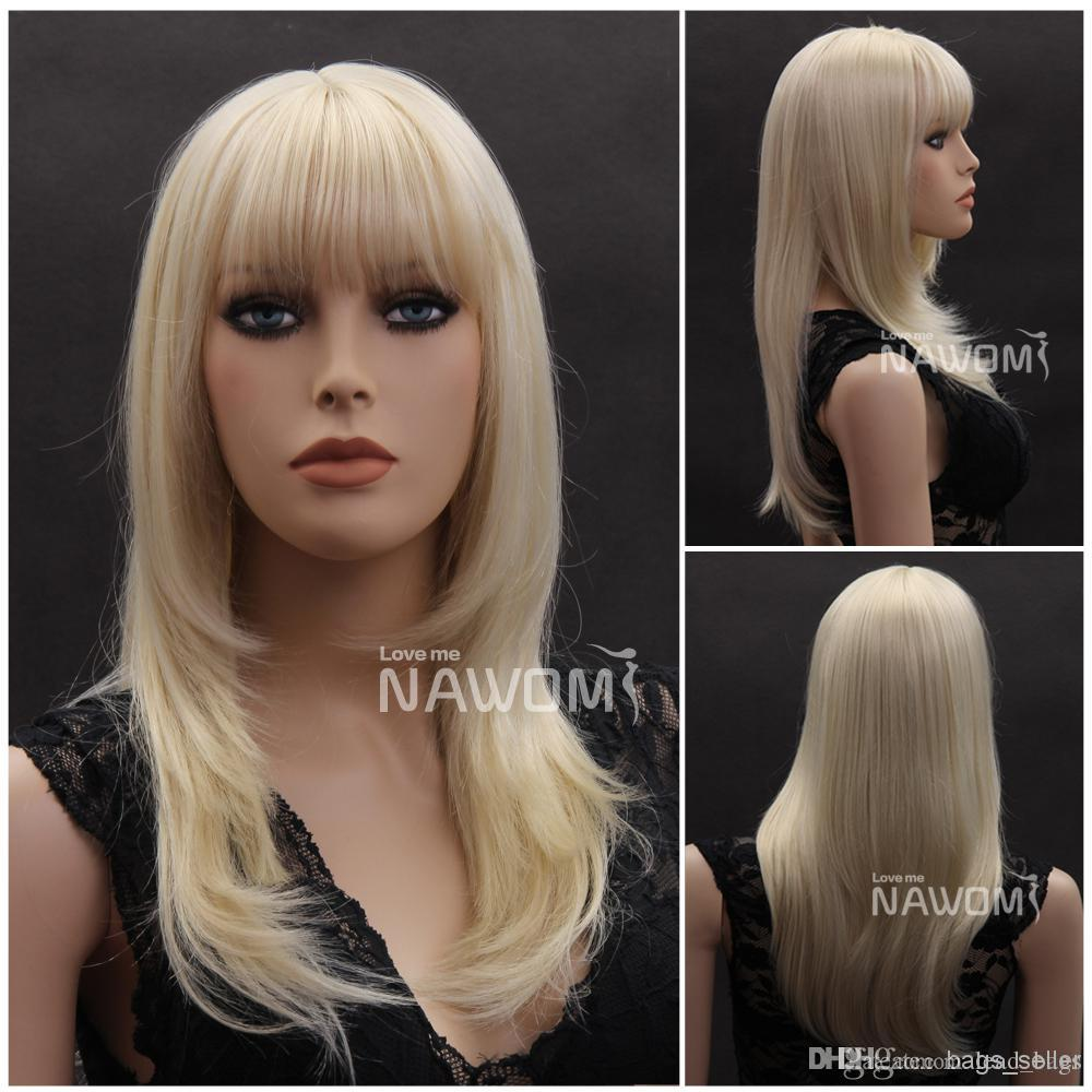 Blonde Color Long Hair Wig Straight Bang 21.3 Synthetic Wig 0729W3920 Short  Synthetic Wigs Synthetic Half Wigs From Lead bags 89ef621a9af2