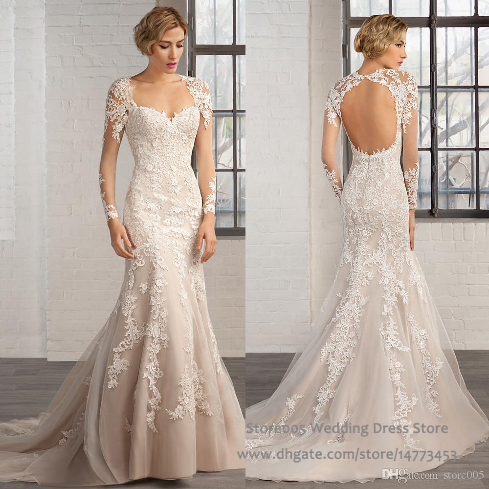 Fishtail Wedding Dress Sweetheart Open Back Long Sleeve Robe De ...