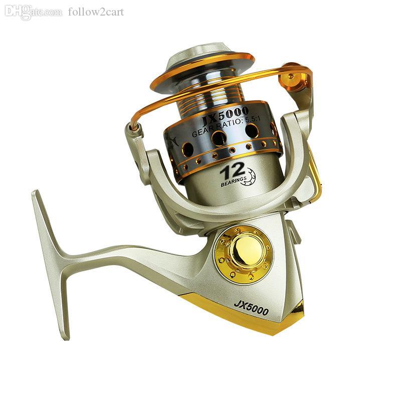 JX1000-7000 Series Metal Spinning Fishing Reel 5.1:1 Boat Raft Fishing Fish Wheel Pesca Carrete 10BB Black/Gold