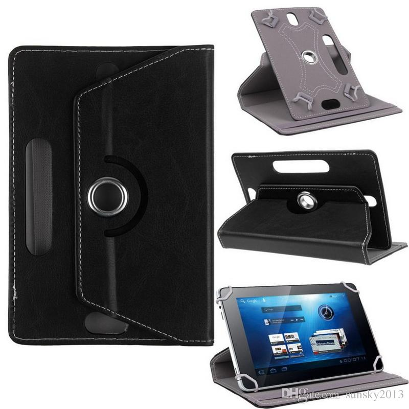 360 Degree Rotating Case PU Leather Stand Cover Universal Tablet Cases 7 8 9 10 inch Built-in Card Buckle for Mini iPad Air 2 Samsung Tab 3