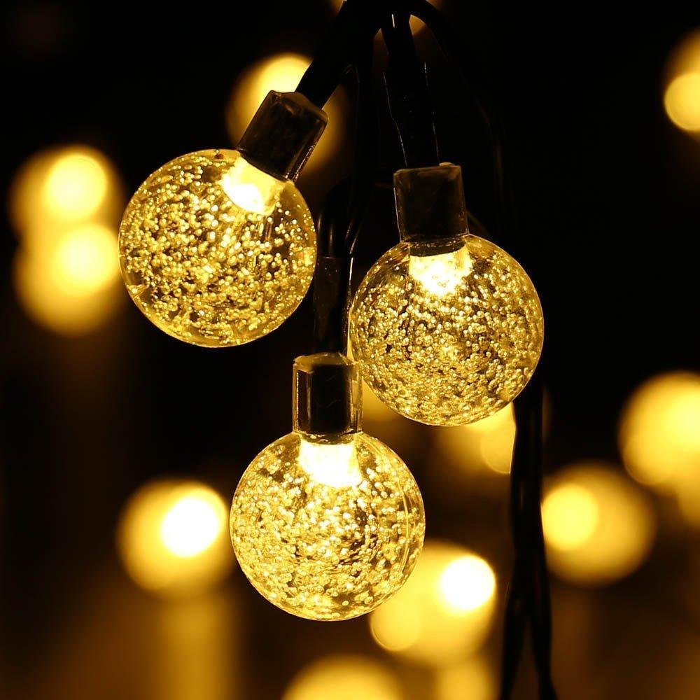 Solar Outdoor String Lights 20ft 30 Led Warm White Crystal Ball Solar Powered Globe Fairy Lights ...