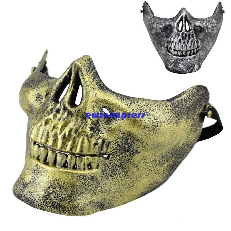 التكتيكية العسكرية جمجمة الهيكل العظمي نصف الوجه قناع الصيد زي حزب تنكر قناع cs ألعاب تأثيري الدعائم