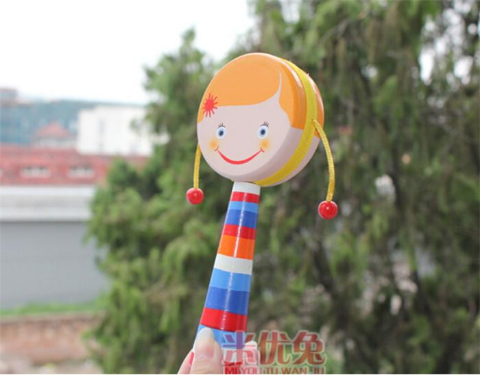 2015 new arrive popular china rattles baby toys hand-shaking drum pull rattle auspicious in stock now D120