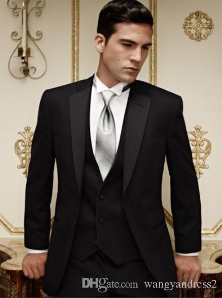 Heißer verkauf Maßgeschneiderte Hochzeit Anzüge Schwarz Bräutigam Smoking Hübscher Anzug Formelle Anzüge Best Man Groomsman anzüge jacke + Pants + Weste