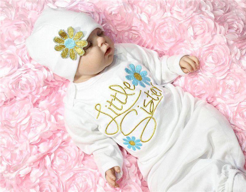 Vêtements pour enfants à manches longues petite soeur bébé fille vêtements ensembles venir à la maison tenue bébé robe chapeau ensemble bébé sac de couchage