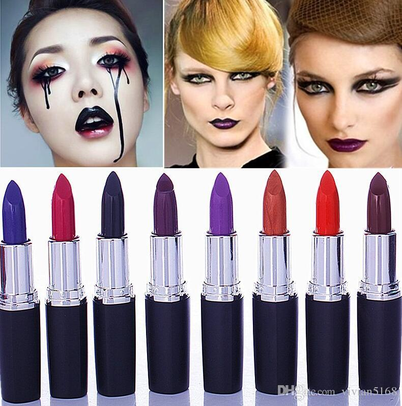 New Waterproof lipstick Vampire Style 8 colors Cosmetic Matte Lip Stick Long Lasting matte purple black lipstick 8 Colors Free Shipping