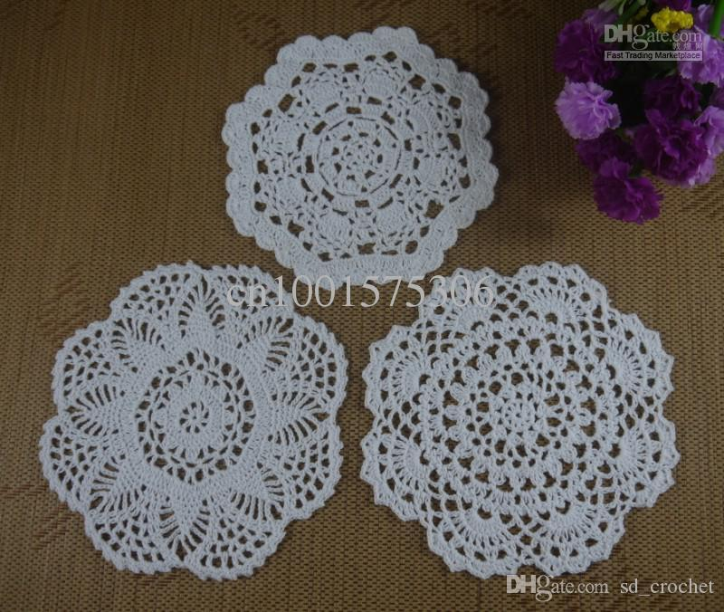 Handmade Crochet Pattern Doily 3 Designs Cup Pad Mat Table Cloth