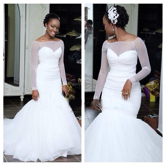 Captivating Long Sleeve Mermaid Cheap Wedding Dresses 2016 New Designer White Organza  Sweep Train Sheer Cheap Bridal Gowns Sexy Vestidos Custom Made Crystal  Wedding ...