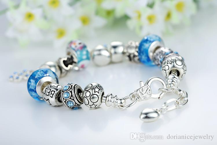Самые новые браслеты шарма с голубыми бусинами из муранского стекла Снеговик Серебряные шармы Снежинка мотается BL097