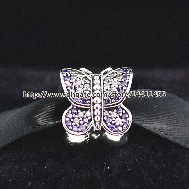 Ciondolo farfalla scintillante filo d'argento 925 con perline CZ adatto gioielli stile europeo bracciali collane pendenti