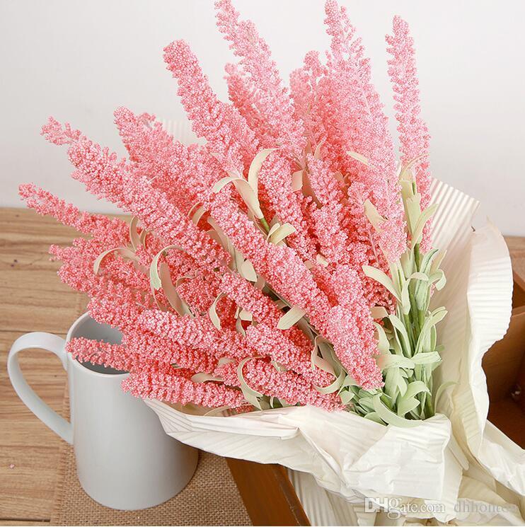 الحرير لافندر بانش لافندر بوش باقة محاكاة زهرة اصطناعية أرجواني أرجواني أبيض الزفاف / المنزل الاصطناعي زهرة SF016