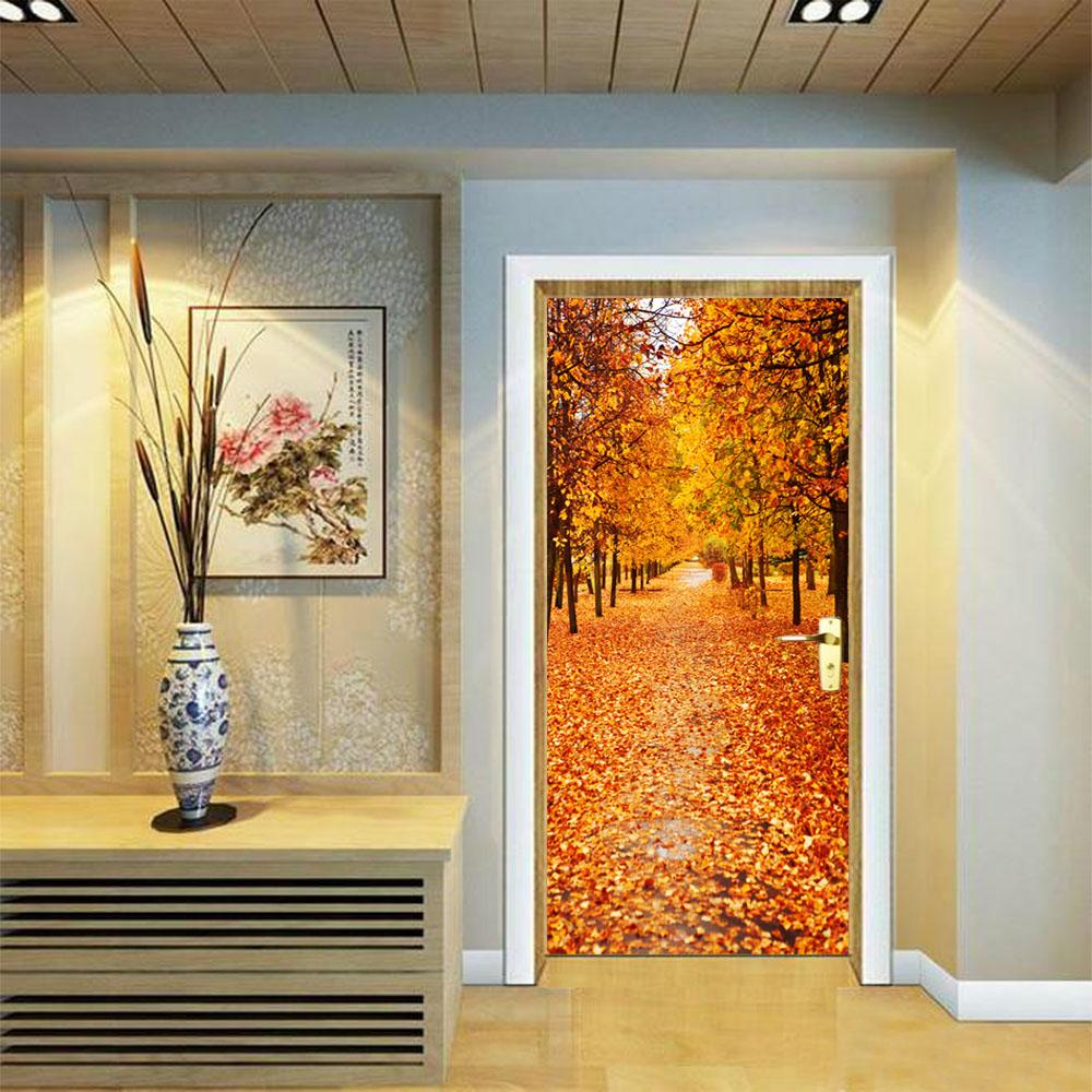 Newest 3d Door Stickers Fall Woods Leaves Stickers Bedroom Living Room  Background Decoration Pvc Wall Stickers Wall Stickers Tree Wall Stickers Uk  From ...