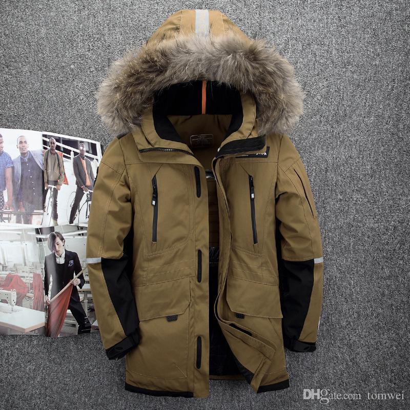 56691c9d Chaqueta exterior Hombre pato abajo Parkas Abrigos de invierno Capucha de  piel Abrigo de nieve Espesar Outwear caliente de alta calidad más el ...