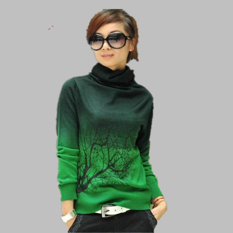 New Women Cashmere Sweater Turtleneck Branch Print Gradient Color ...