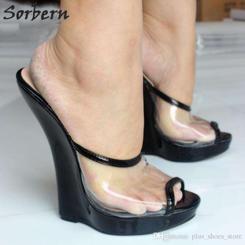 6e1b6c61065d Sorbern Brand Women Sandals Dress Shoes Slipper 2017 Fashion Sexy  Transparent Sandals 18cm High Heels Wedges Pumps Peep Toe Slip-On Shoes Size  11 Womens ...