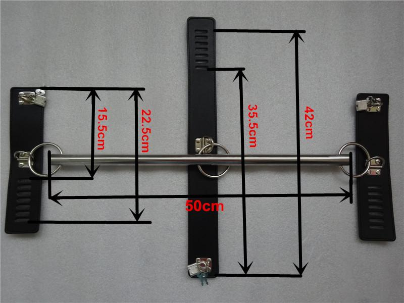 Stainless steel Metal Spreader Bar Sex Restraints Neck Collar With Hand Cuffs BDSM Fetish Harness Necklet Wrist Shackles Sex Toys For Women