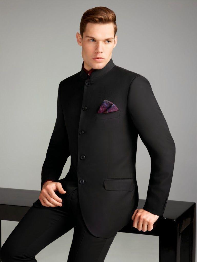 Black Mens Wedding Tuxedos High Collar Mens Suits Custom Made ...
