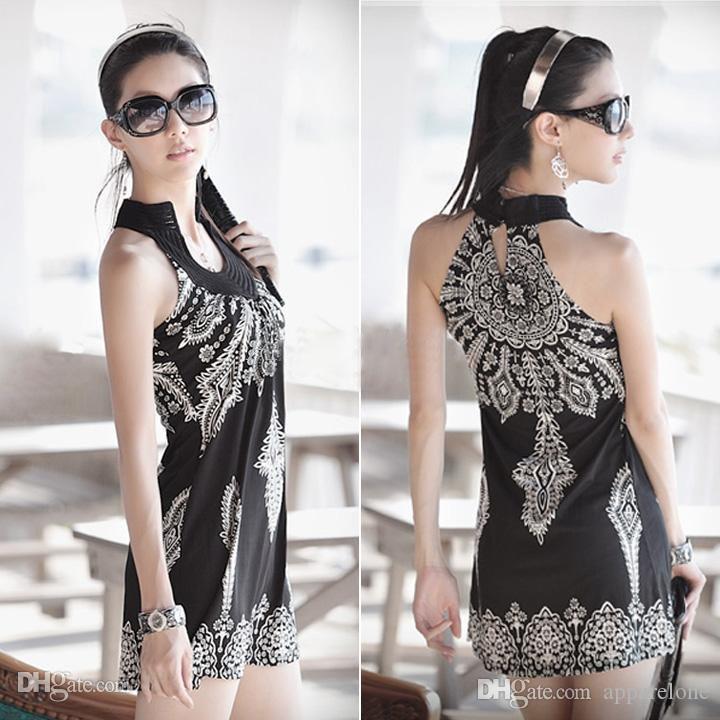 الجملة دعائية! المرأة القطن الكامل الأزهار طباعة الصيف فستان الشمس فتاة جميلة الشاطئ البوهيمي تانك البسيطة B26 SV000976